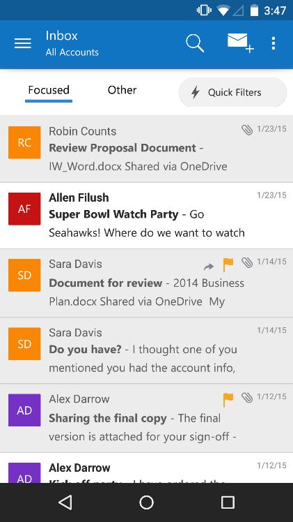 Microsoft Rilascia Outlook Per Ios E Android Interfaccia