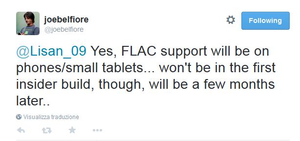 Windows 10 per smartphone e tablet avrà il supporto nativo per i file FLAC