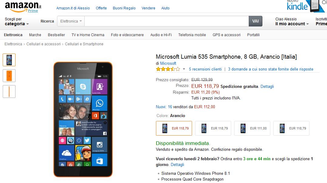 Lumia 535 con Garanzia Italia a 119 Euro su Amazon