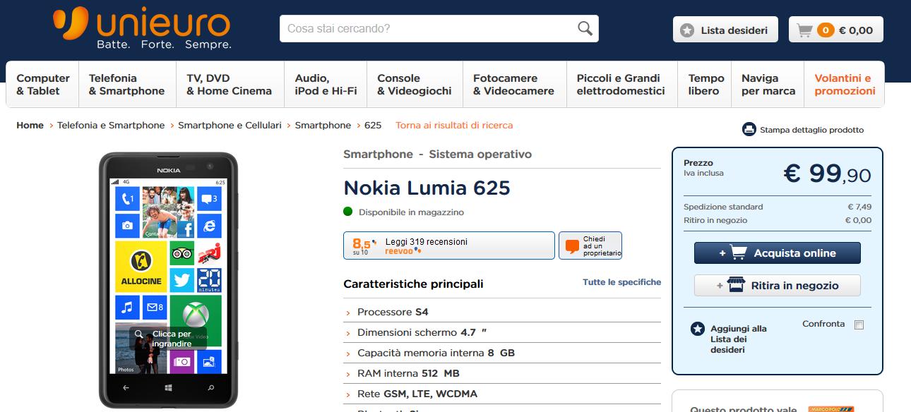 Nokia Lumia 625 a soli 99,90 Euro da Uniero