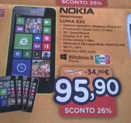 Nokia Lumia 630 a 95,90 Euro da Unieuro