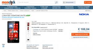 Nokia Lumia 820 Vodafone a 188 Euro su Monclick