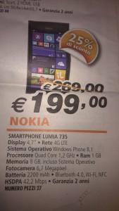 Nokia Lumia 735 in offerta a 199 Euro