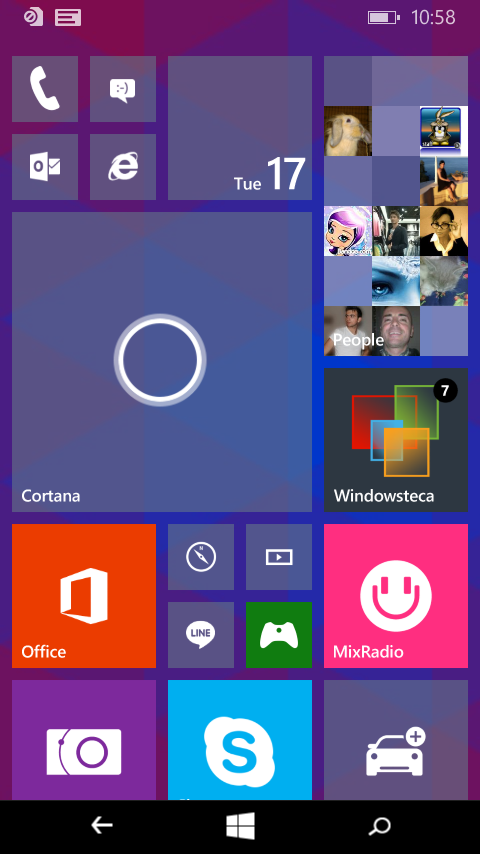 Tile di Windows 10 Preview