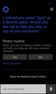 Fitness Tracking in Cortana