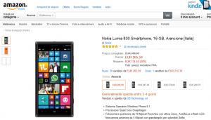 Lumia 830 su Amazon