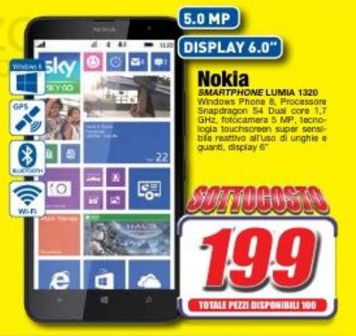 Nokia Lumia 1320 a 199 Euro