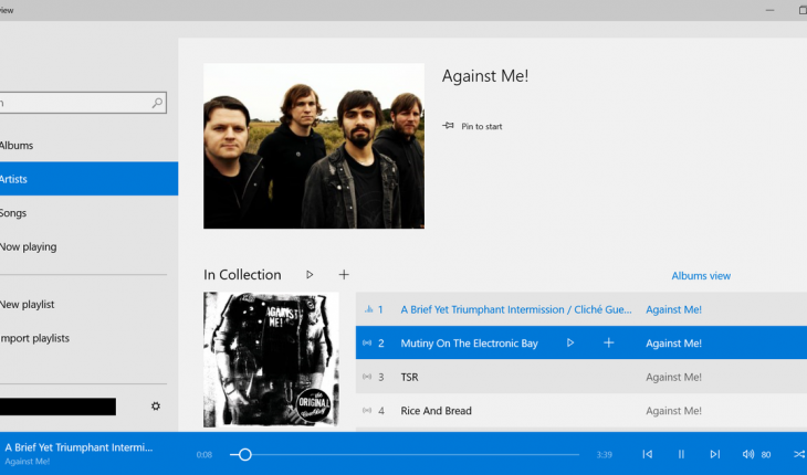 App Music per Windows 10