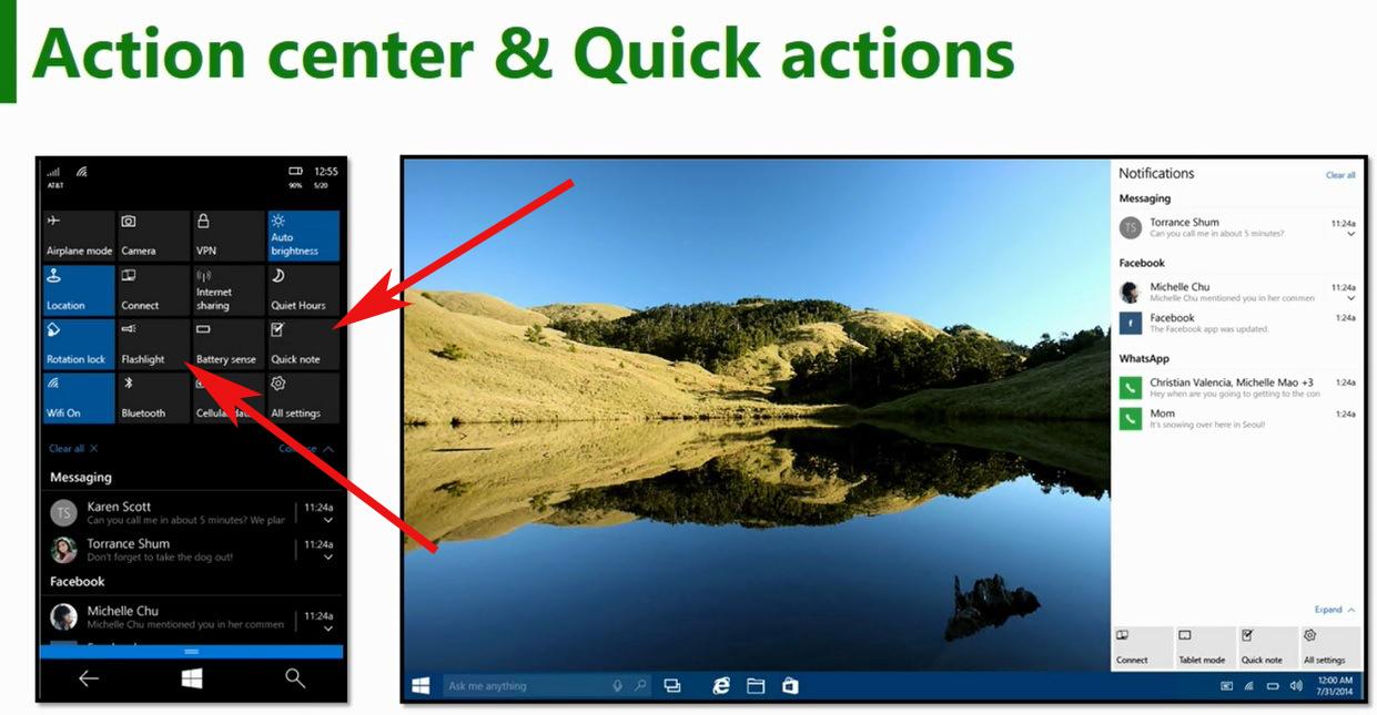 Toggle nell'Action Centre di Windows 10