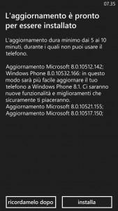 HTC 8X aggiornamento a WP8.1 Update 1