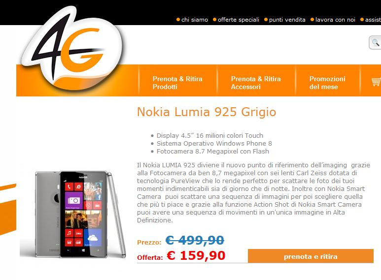 Nokia Lumia 925 Grigio a soli 159,90 Euro su 4gh.it