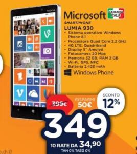 Nokia Lumia 930 in offerta a 349 Euro