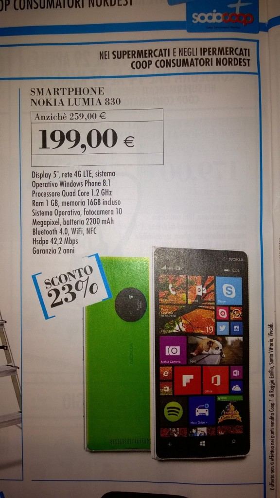 Nokia Lumia 830 a soli 199 Euro