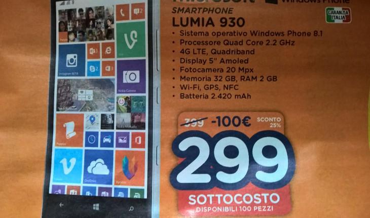 Nokia Lumia 930 a 299 Euro presso Unieuro