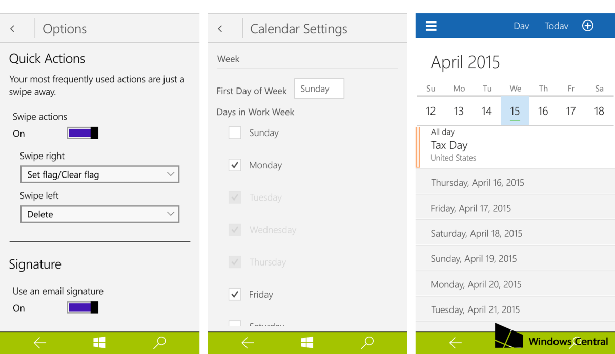 Calendario su Windows 10 Build 10051