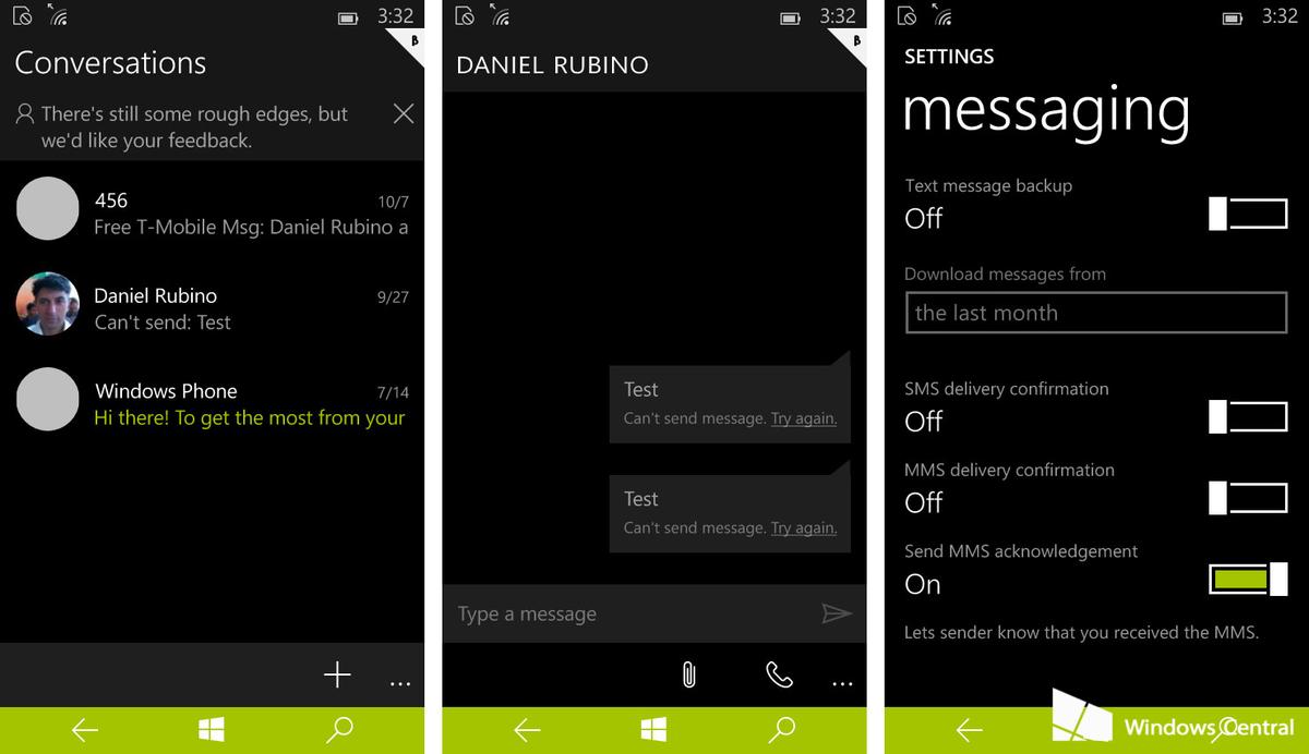 Messaggi su Windows 10 Build 10051