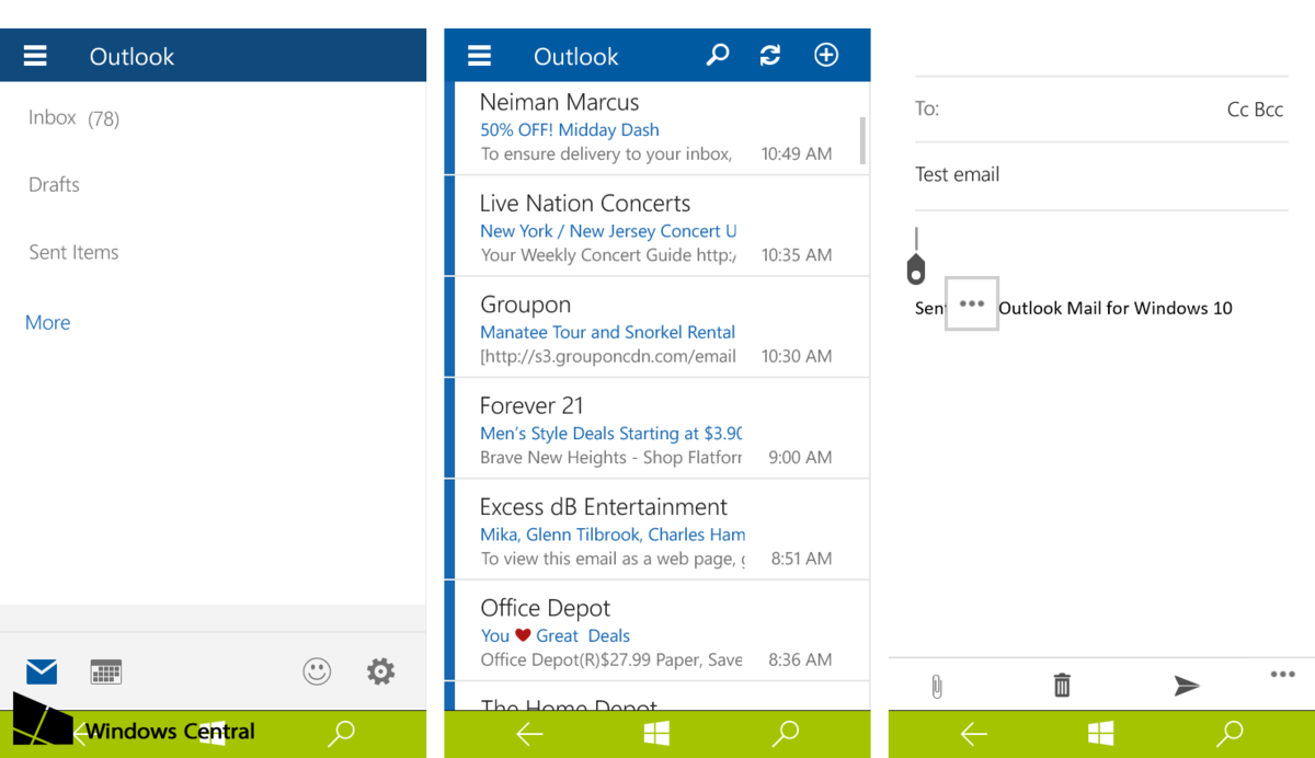 Mail su Windows 10 Build 10051