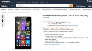 Lumia 540 Dual SIM su Amazon