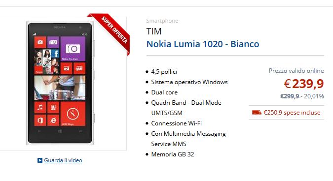Nokia Lumia 1020 TIM a 239,90 Euro sul sito di Euronics
