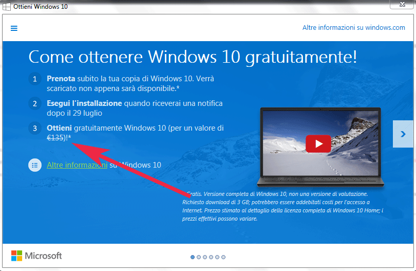 Windows 10 per PC costerà 135 Euro