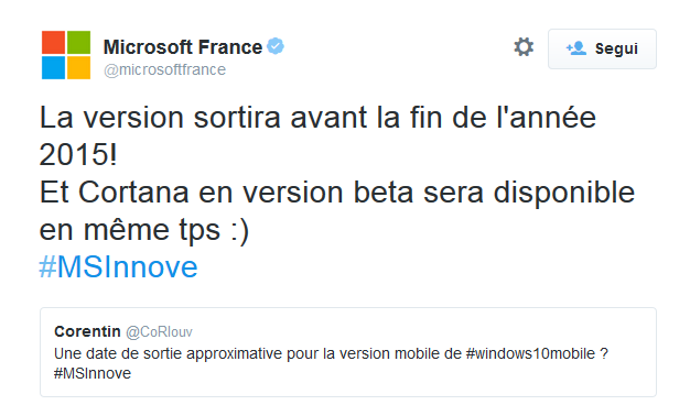 Tweet Microsoft France