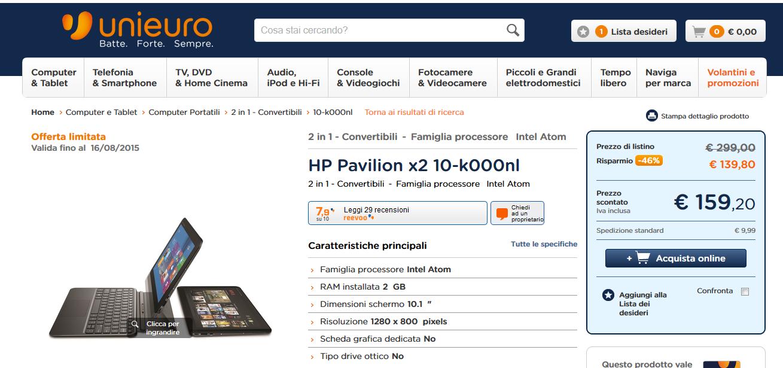 Offerta Unieuro HP Pavilion x2 (10-k000nl)