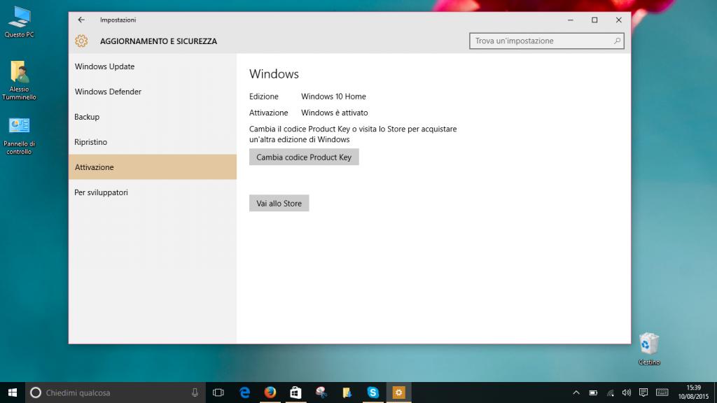 Attivazione Windows 10