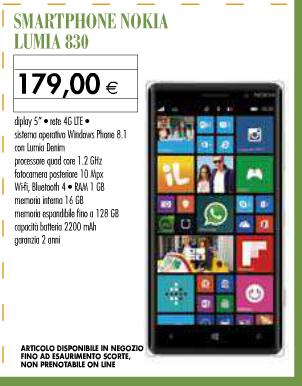 Nokia Lumia 830 a soli 179 Euro
