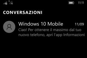 Hub Messaggi Windows 10 Mobile