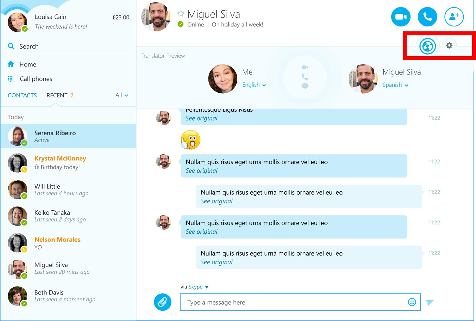 Skype - Funzione Translator