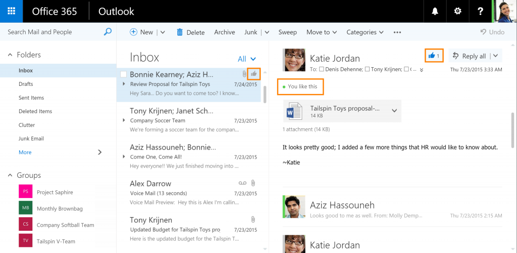 Funzione Like in Outlook per Office 365