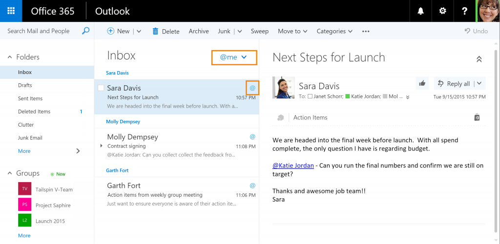 Funzione @Mention in Outlook per Office 365
