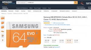 Micro SD Samsung da 64 GB a soli 23,62 Euro su Amazon Italia