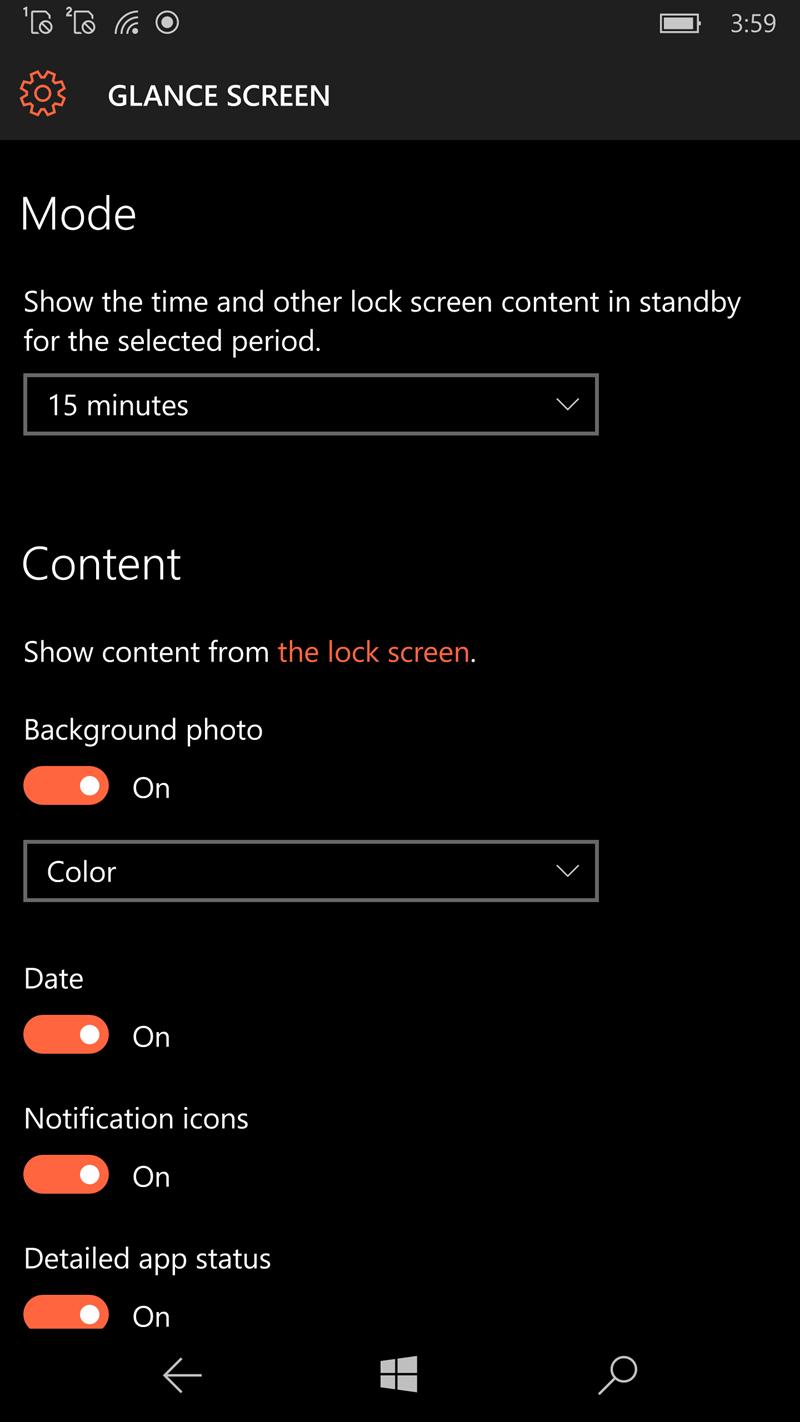 Opzioni Glance screen