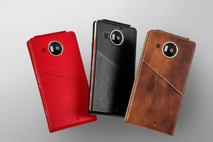 flip cover in pelle per i Lumia 950 e 950 XL