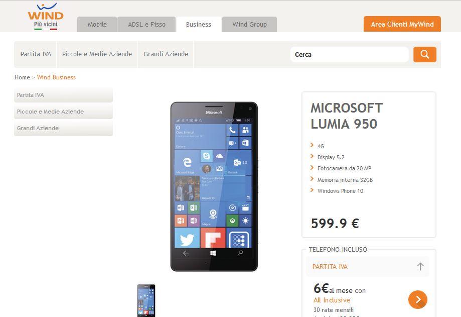 Lumia 950 su Wind.it