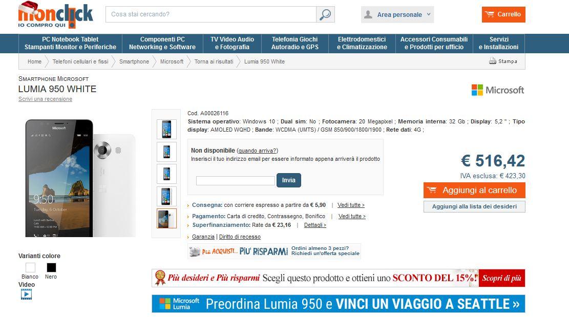Lumia 950 su Monclick