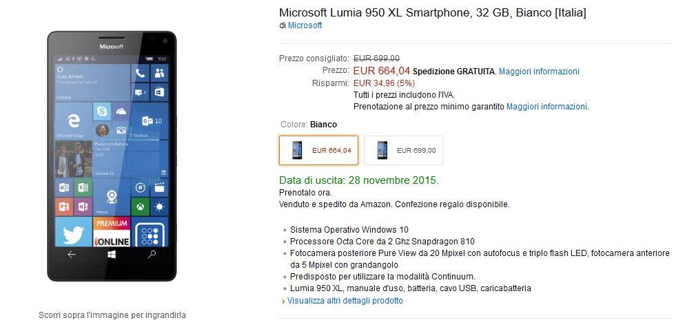 Lumia 950 XL su Amazon Italia