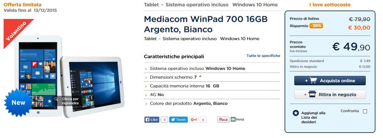 Offerta Unieuro - Mediacom WinPad 700