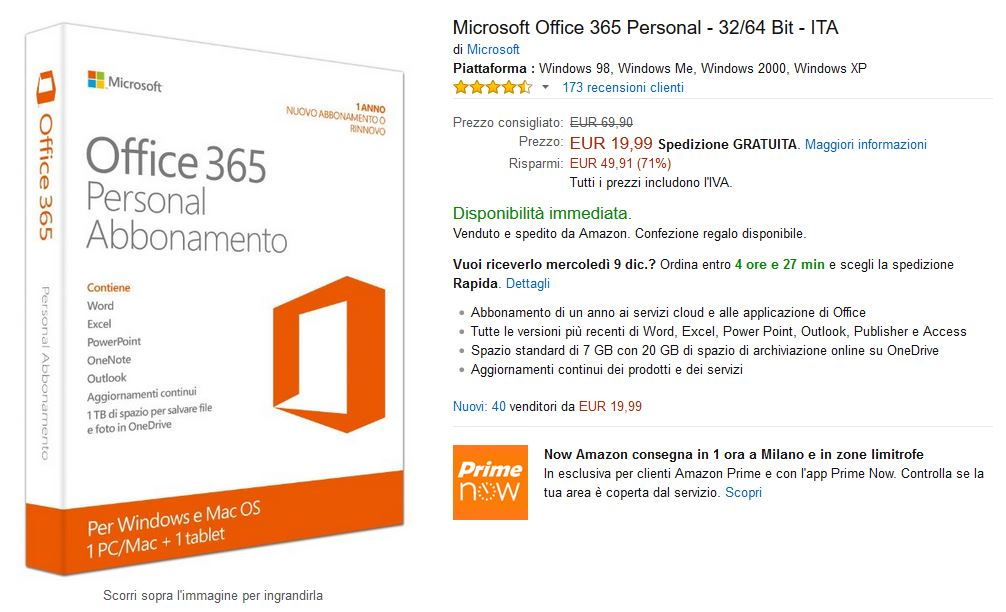 Microsoft Office 365 Personal a soli 19,90 Euro su Amazon