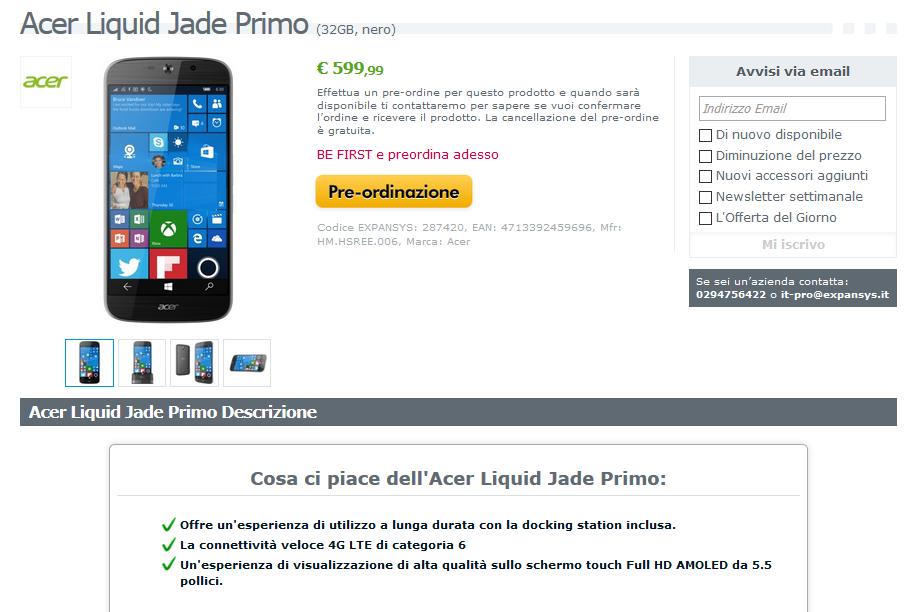 Acer Jade Primo su Expansys