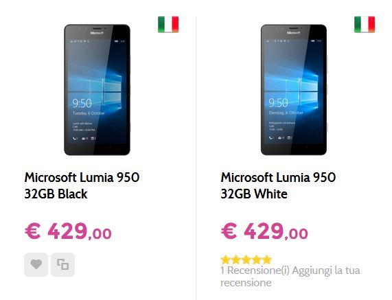Lumia 950 a 429 Euro