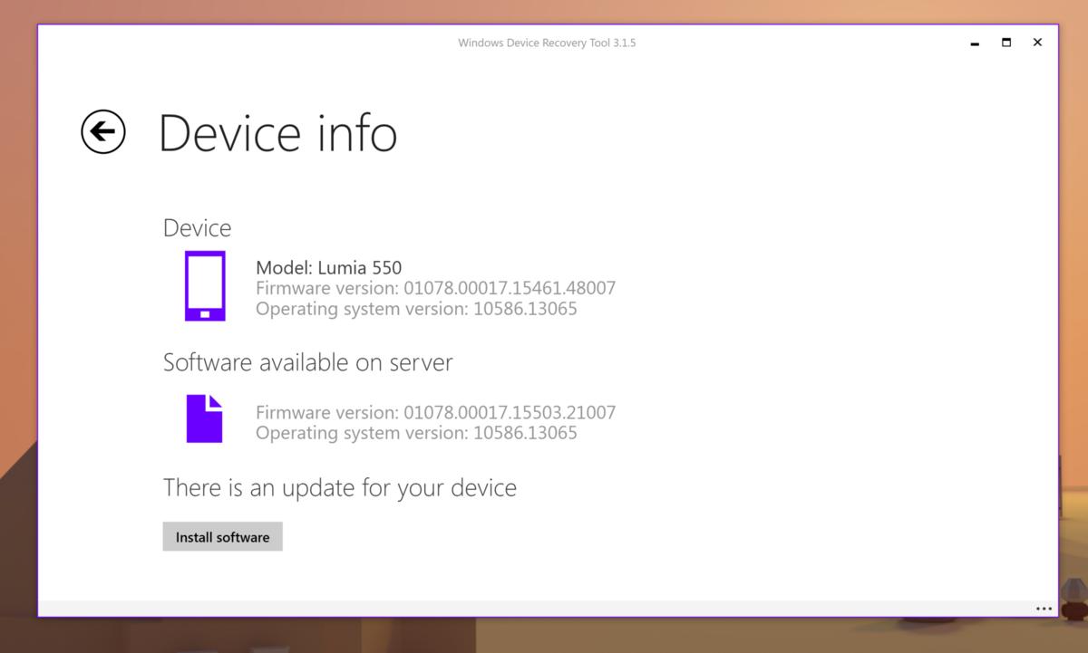 Firmware Update Lumia 550