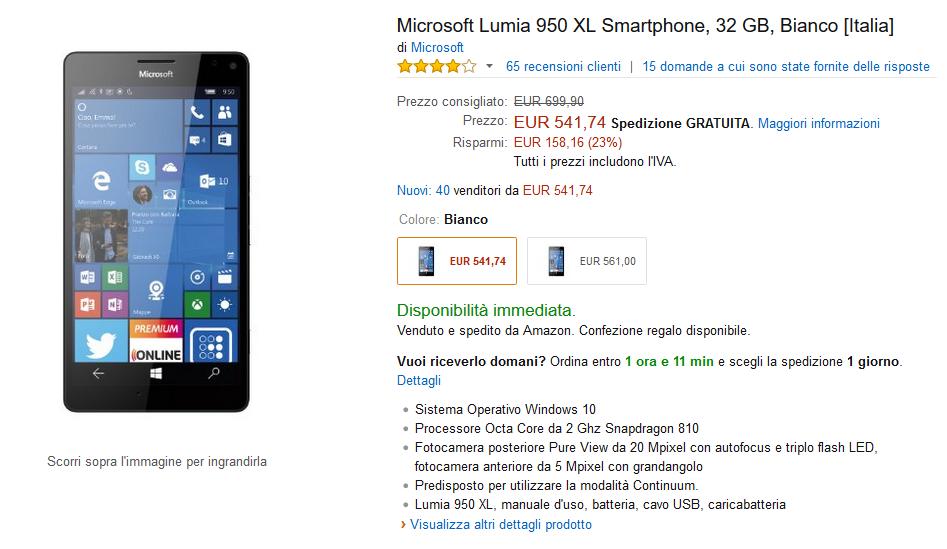 Lumia 950 XL su Amazon
