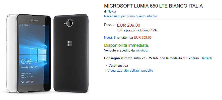 Lumia 650 su Amazon