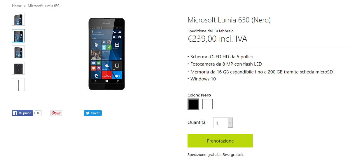 Prenota Lumia 650
