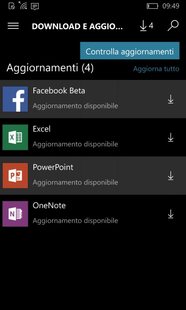 Updates per Windows 10 Mobile