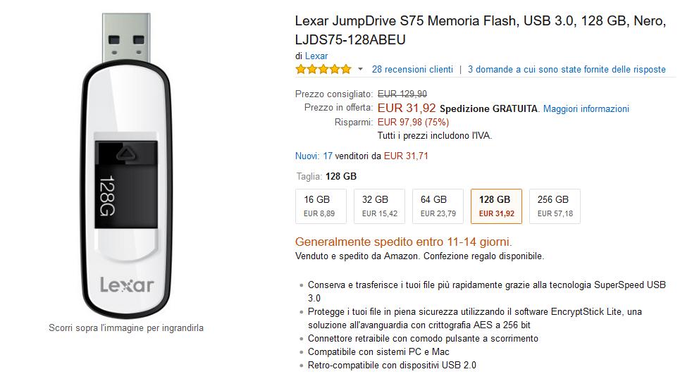 Lexar JumpDrive S75 da 128 GB