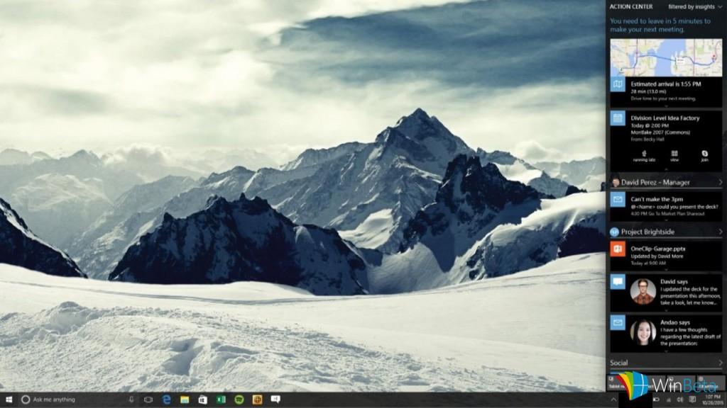 Concept dell'Action Center di Windows 10