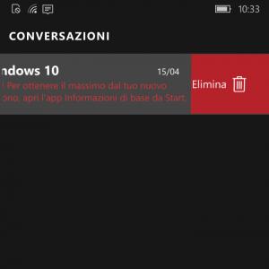 Elimina chat e messaggi con swipe